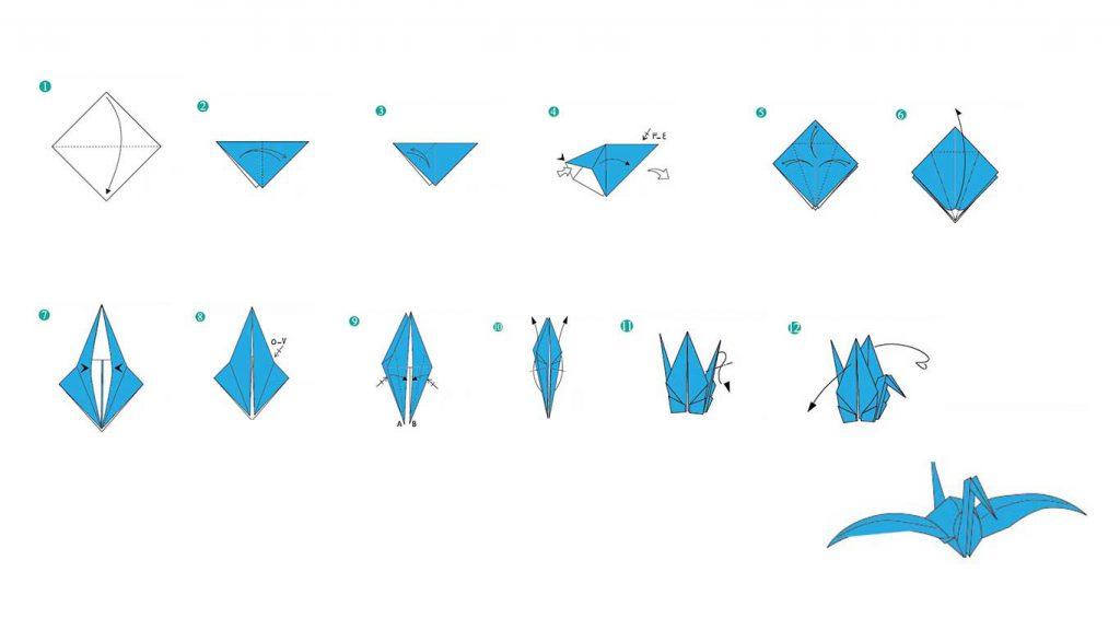 آموزش اوریگامی درنا سفید