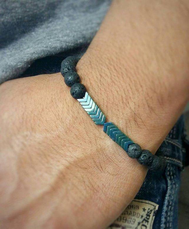 دستبند مردانه کار شده با سنگ لاوا و حدید کد ۲