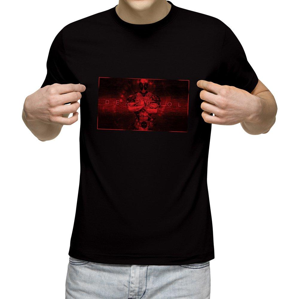 تیشرت آستین کوتاه مردانه یقه گرد مشکی طرح ددپول کد 13307