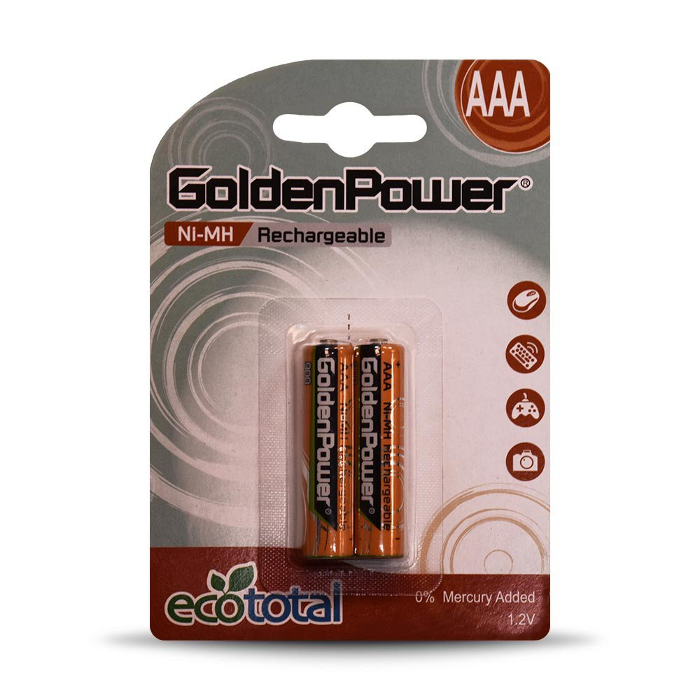 باتری نیم قلمی قابل شارژ گلدن پاور مدل 900 Eco Total بستهی 2 عددی