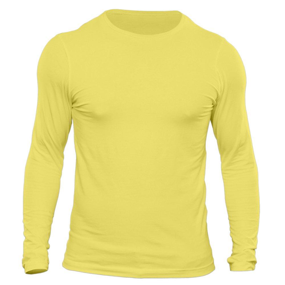 تیشرت آستین بلند مردانه کد 3GYL رنگ زرد لیمویی