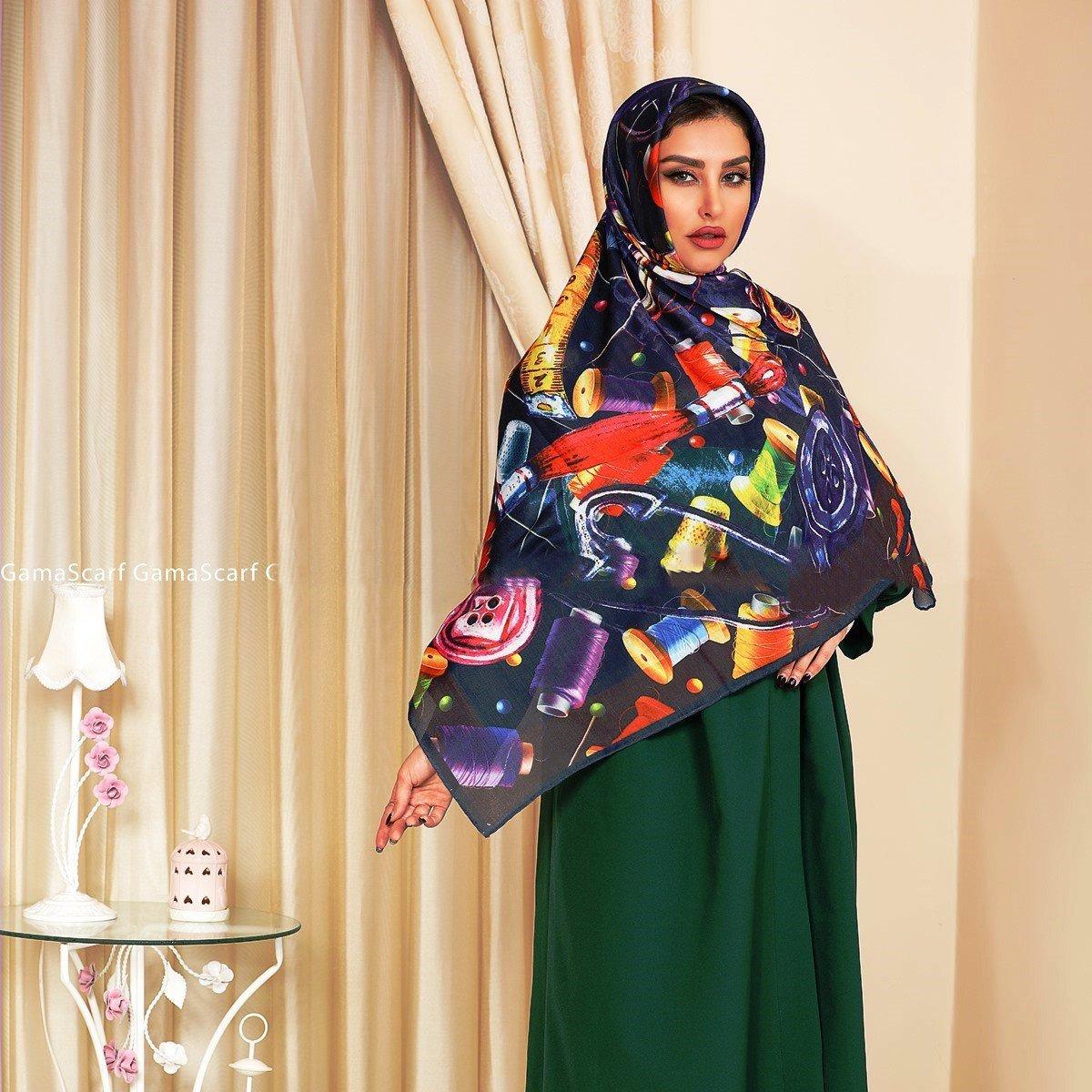 روسری ابریشم توویل دست دوز 140x140
