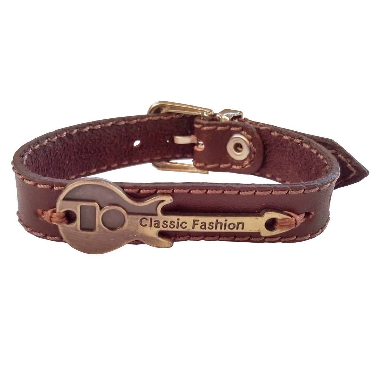 دستبند چرم وارک طرح گیتار مدل پرهام rb34
