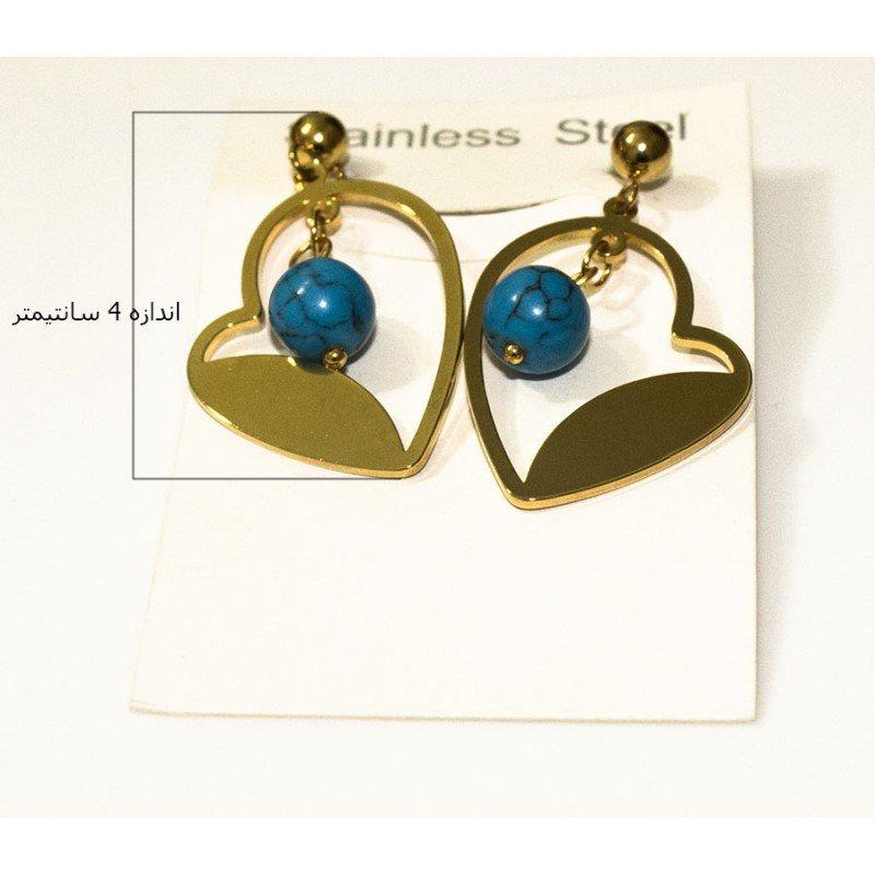 گوشواره طرح قلب با مهره آبی