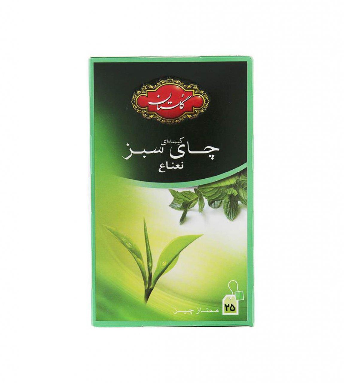 چای سبز با طعم نعناع کیسه ای 25 عددی گلستان