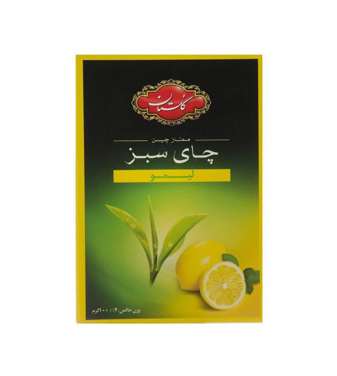 چای سبز با طعم لیمو گلستان 100 گرمی