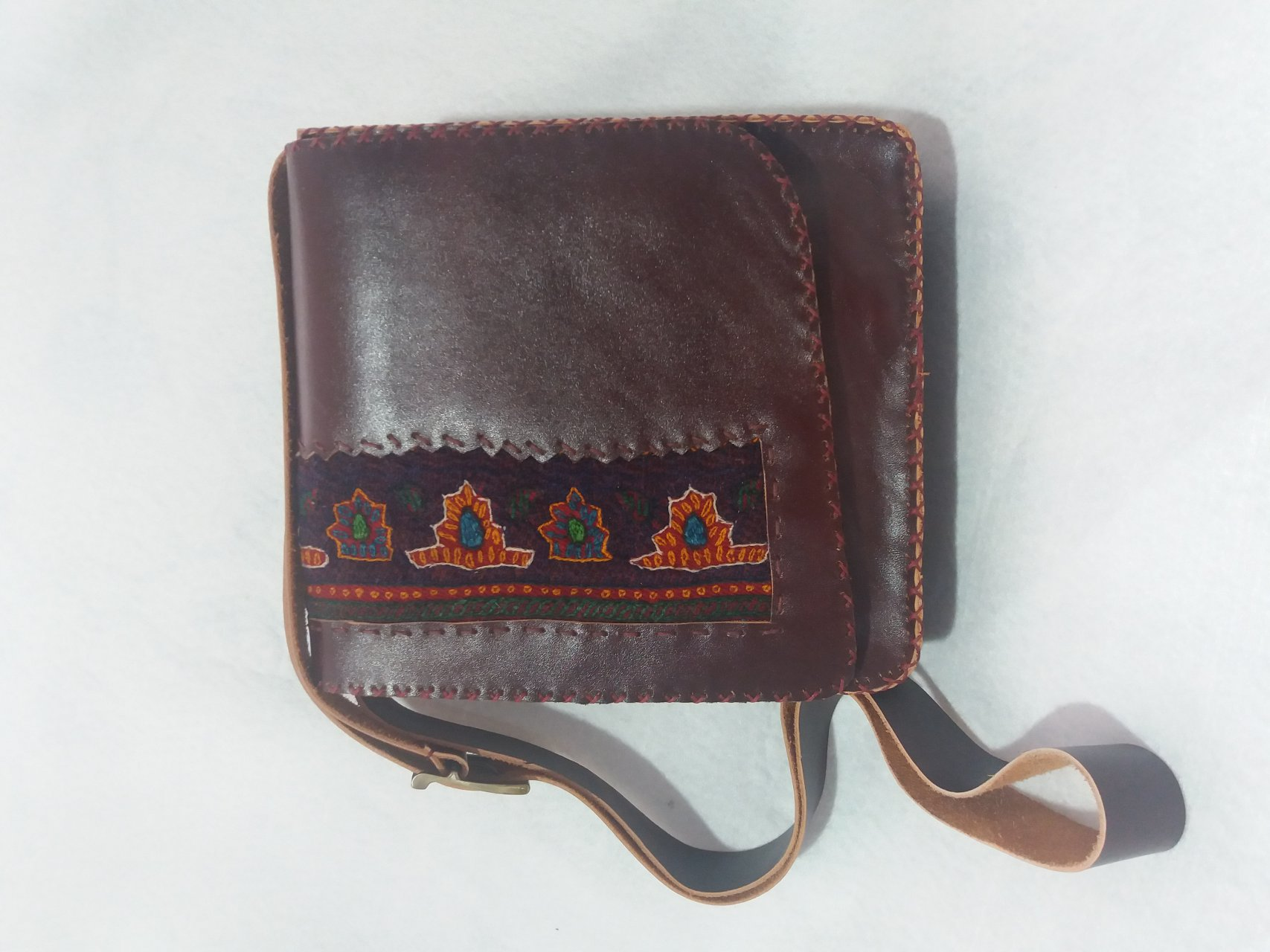 کیف چرم طبیعی دستدوز زنانه با ترکیب پته