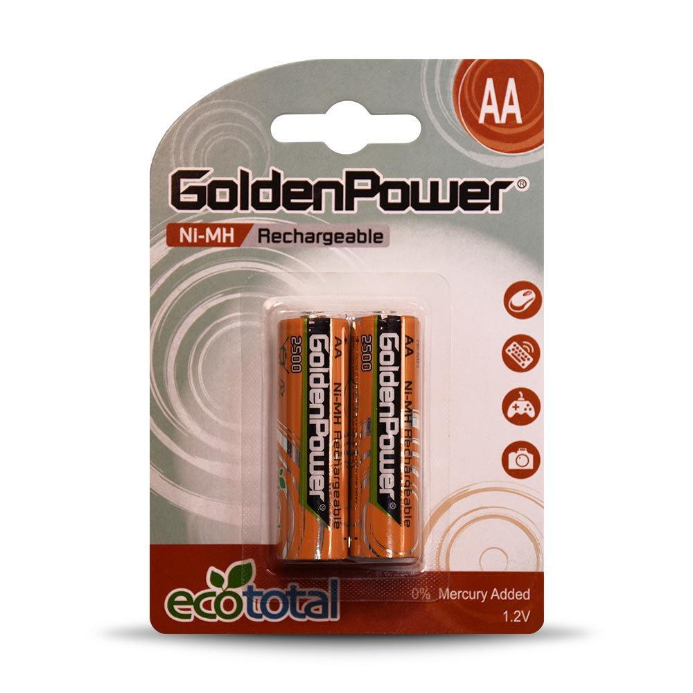 باتری قلمی قابل شارژ گلدن پاور مدل 2500 Eco Total بسته 2 عددی