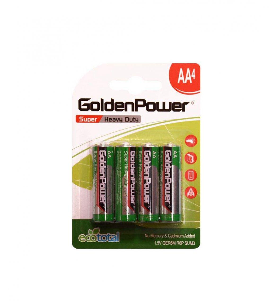 باتری قلمی گلدن پاور مدل Eco Total Super Heavy Duty بسته 4 عددی