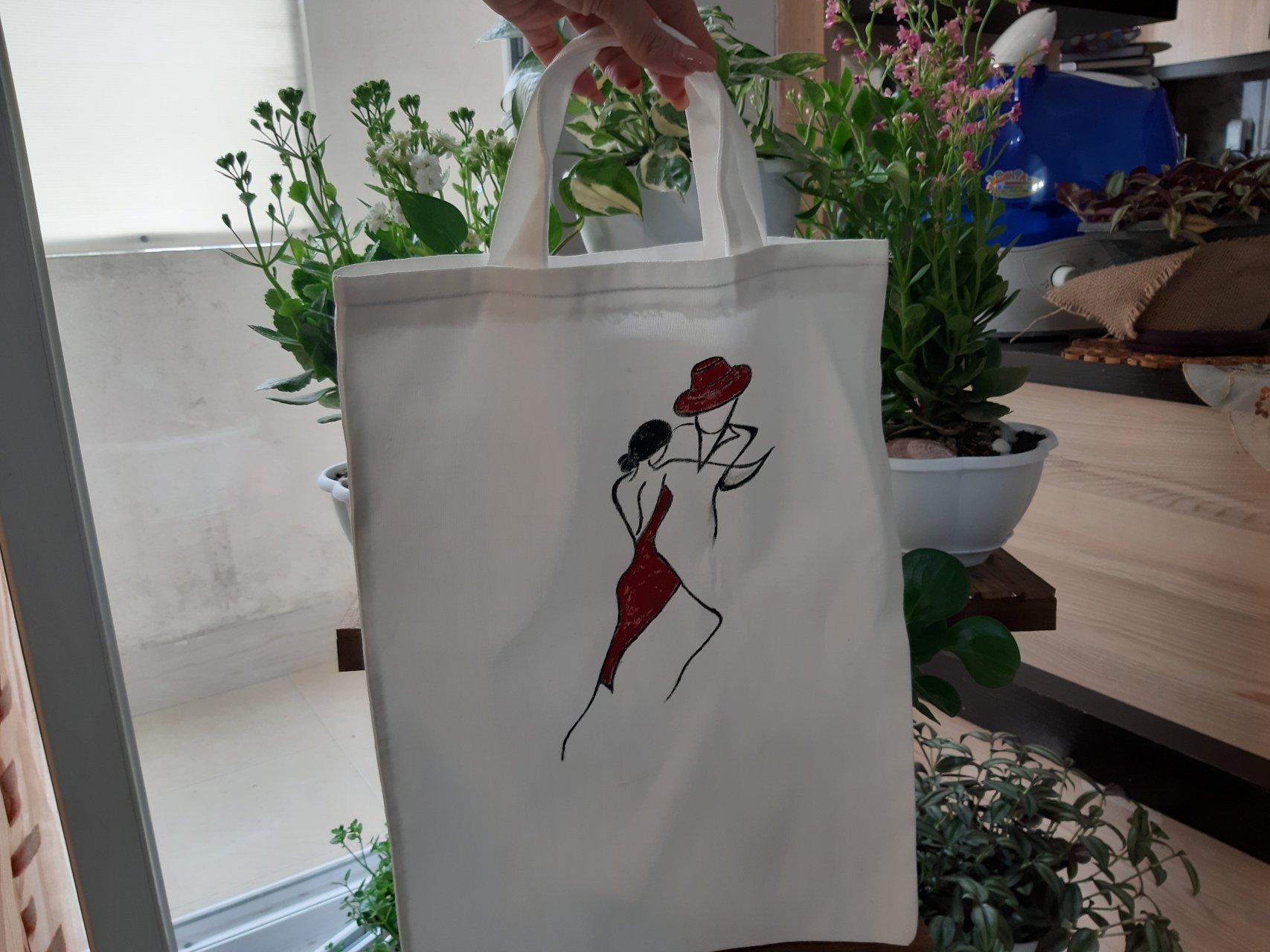 کیف پارچه ای نقاشی شده طرح رقص