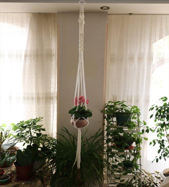 آویز گلدان مکرومه یک طبقه بدون حلقه