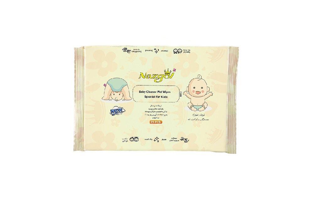 دستمال مرطوب پاک کننده کودکان نازگل 25 عددی