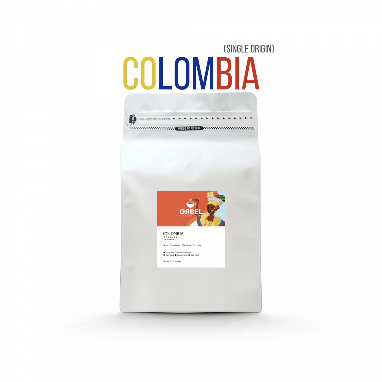 دانه قهوه اربل مدل کلمبیا اکسلسو سینگل اورجین 1 کیلوگرم