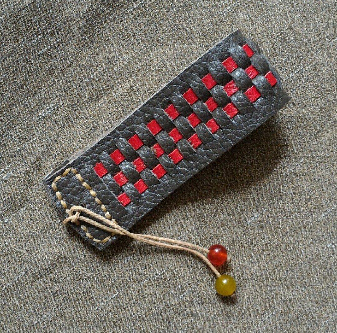 دستبند چرم طبیعی طرح حصیری