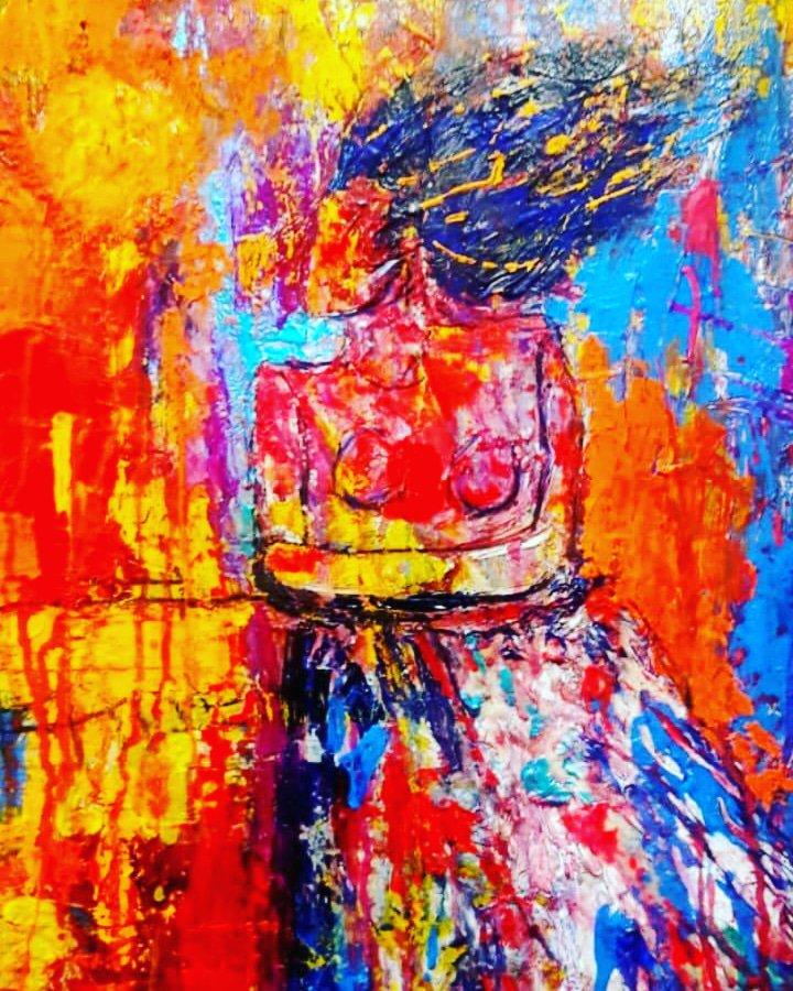 تابلو بوم نقاشی طرح Orange storm