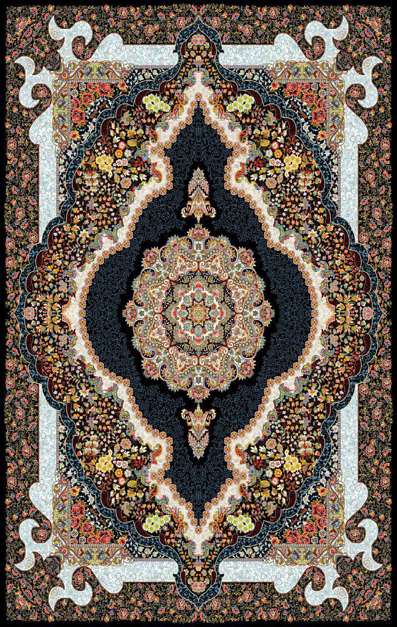 فرش نقش سلطان سرمه ای رنگ 700 شانه 12 متری