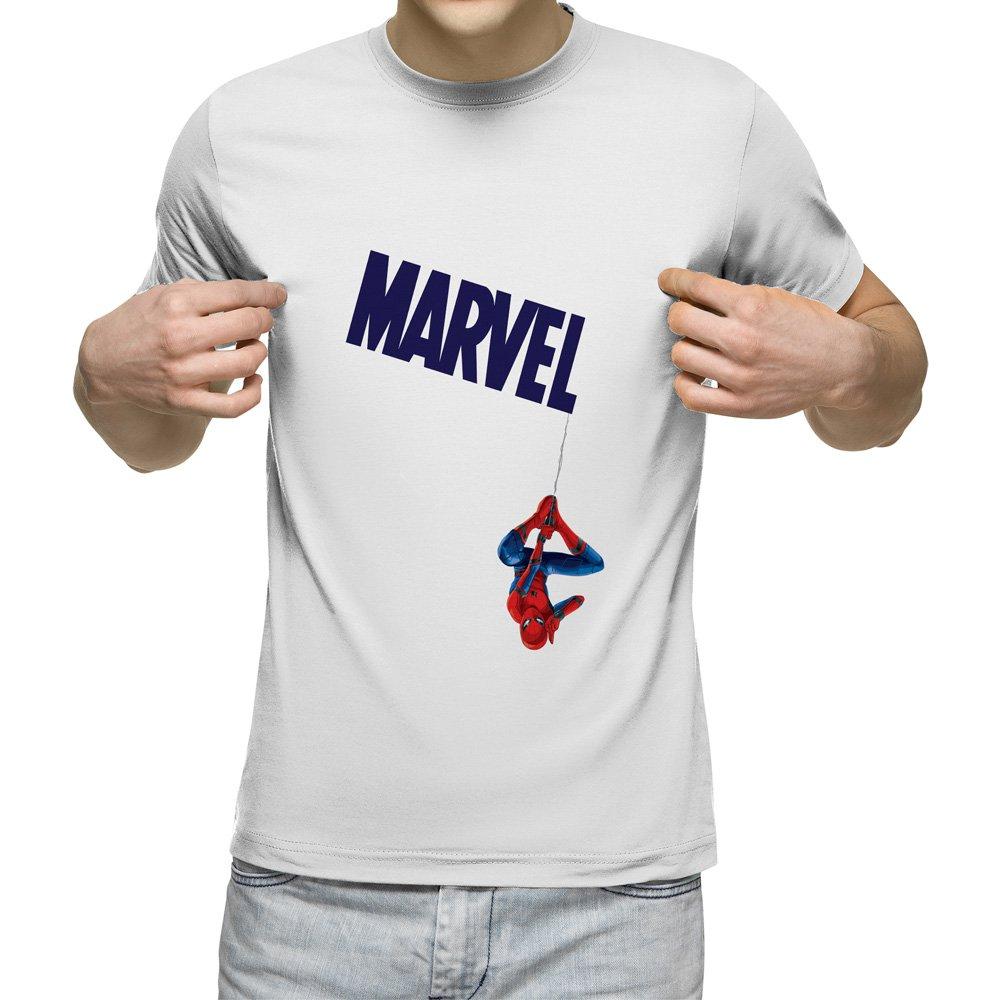 تیشرت آستین کوتاه مردانه یقه گرد سفید طرح اسپایدرمن کد 13004