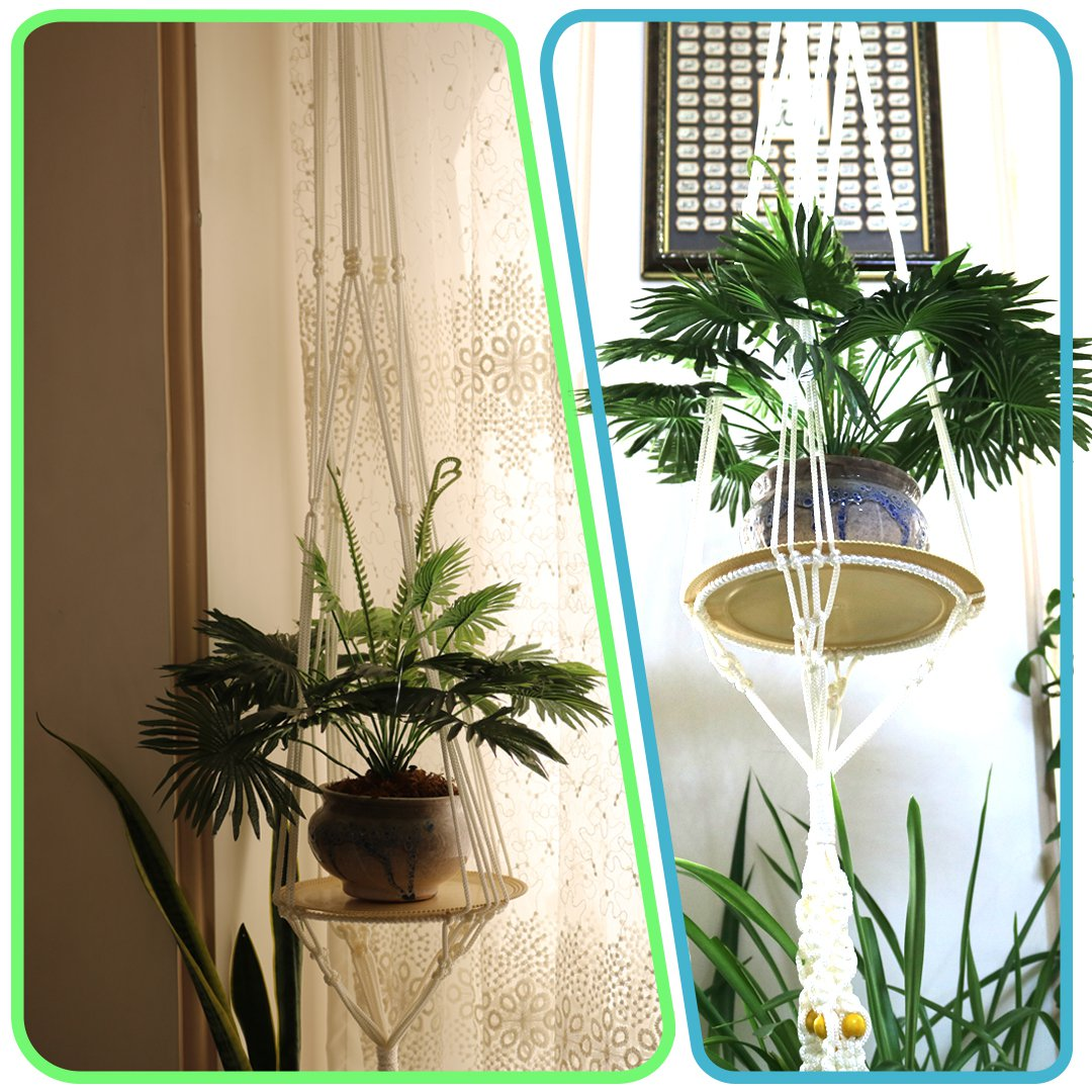 آویز گلدان مکرومه یک طبقه سفید