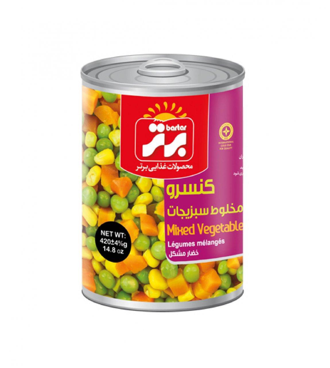 کنسرو مخلوط سبزیجات 420 گرم برتر