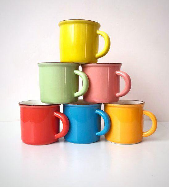 فنجان قهوه خوری رنگی 6 عددی