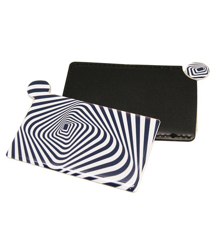 آینه نشکن لوکس به همراه کیف چرمی سورمه ای سفید