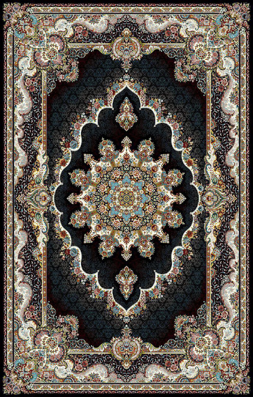 فرش نقش نیلا سرمه ای رنگ 700 شانه 9 متری