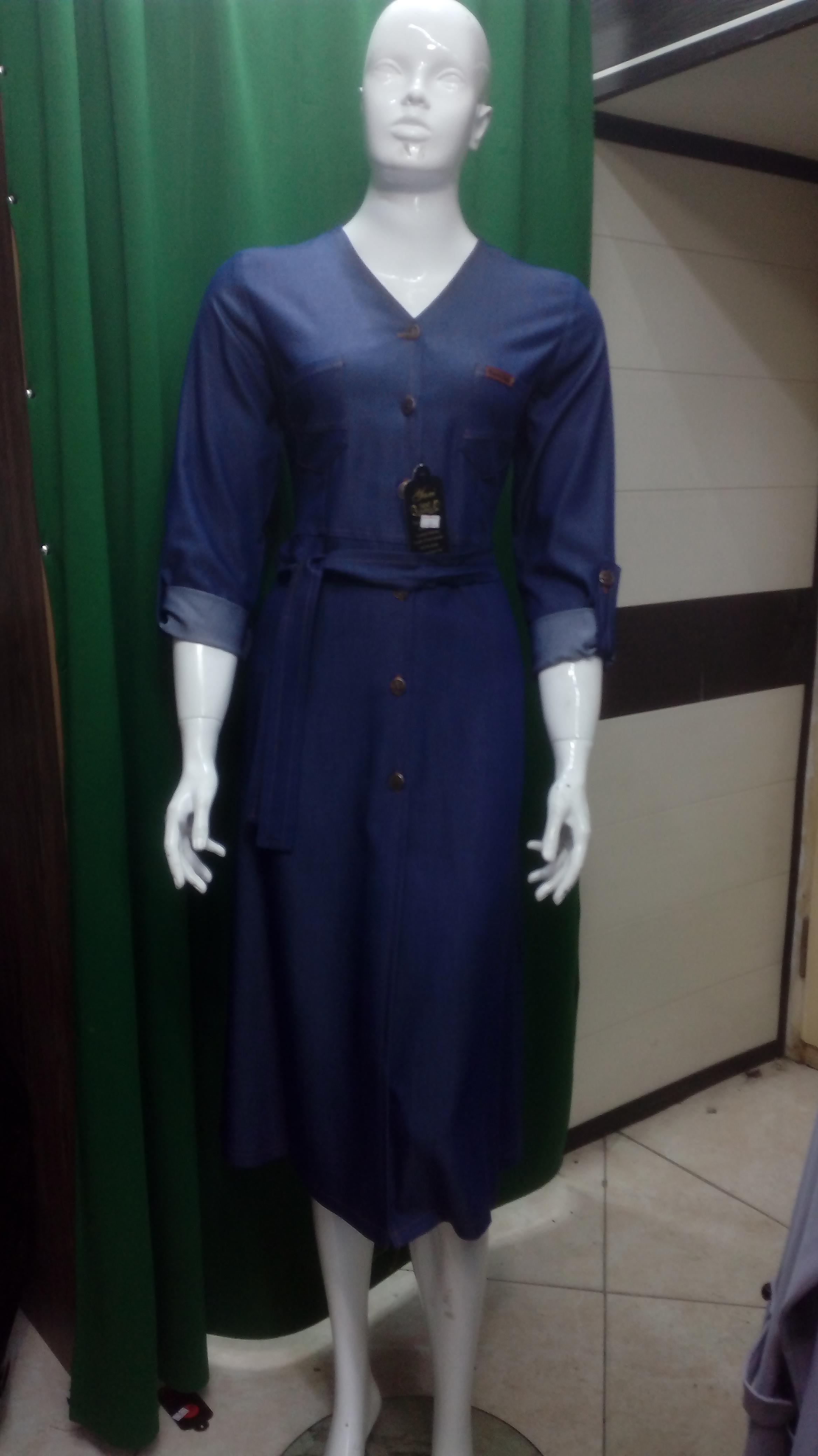 مانتو طرح لی یقه 7 زنانه بلند رنگ آبی تیره کد 74