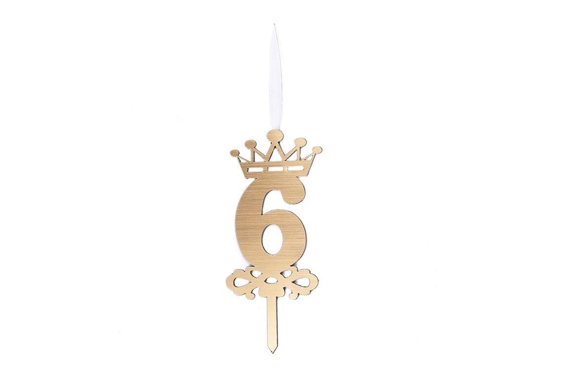 شمع شگفت انگیز عدد 6 تاجدار طلایی