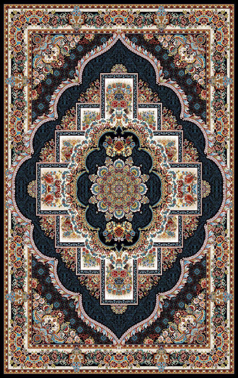فرش نقش ناردون سرمه ای رنگ 700 شانه 12 متری