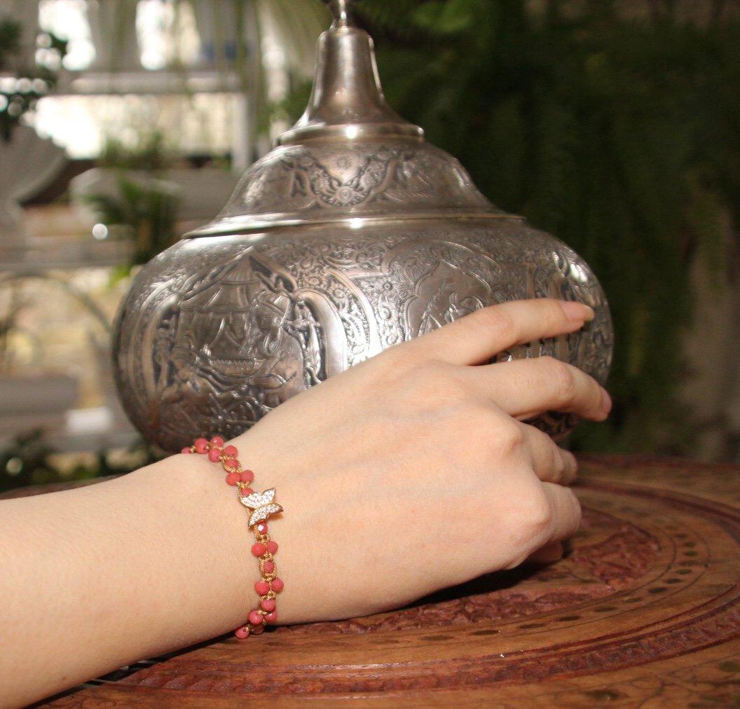 دستبند بافت كريستال با خرج كار استيل رنگ ثابت