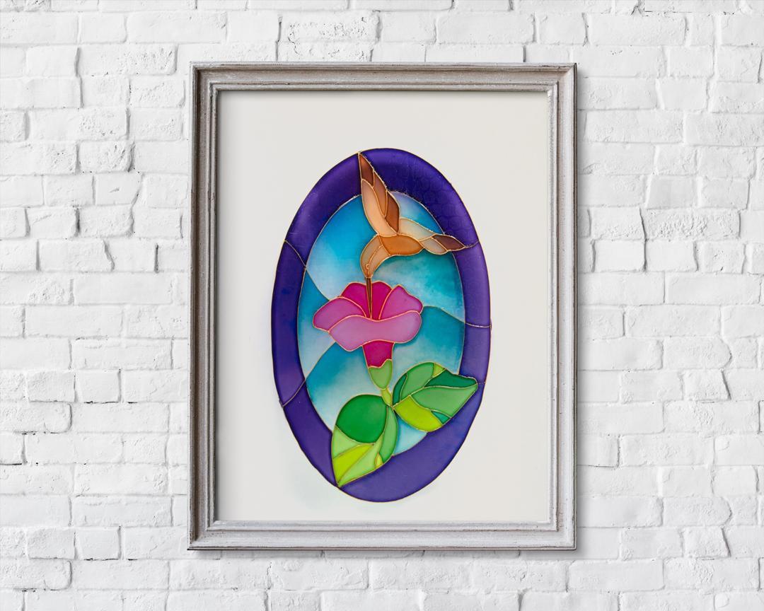 تابلوی نقاشی طرح گل و مرغ