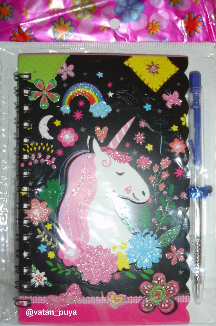 دفترچه یاداشت فانتزی عکس برجسته به همراه خودکار
