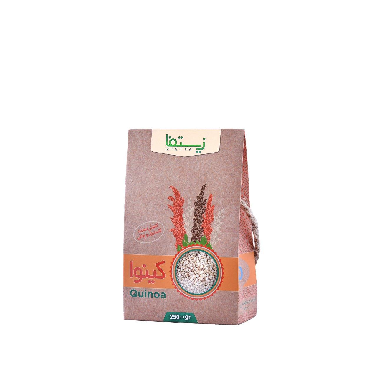دانه کینوآ سفید زیستفا جعبه 250 گرمی