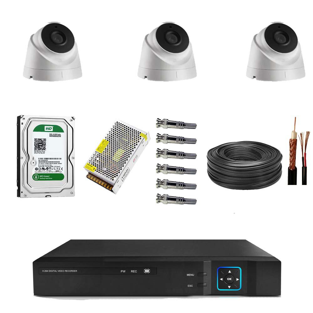 پک آماده نصب 3 دوربین مدار بسته دام 2 مگاپیکسل کد 002