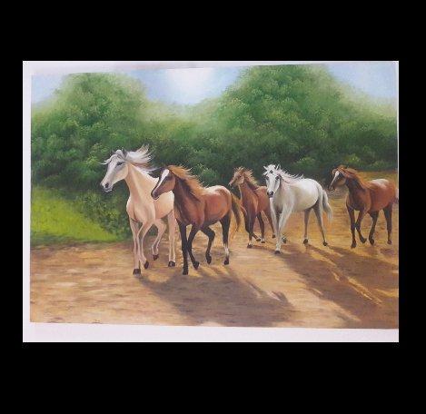 تابلوی نقاشی گله ی اسب ها