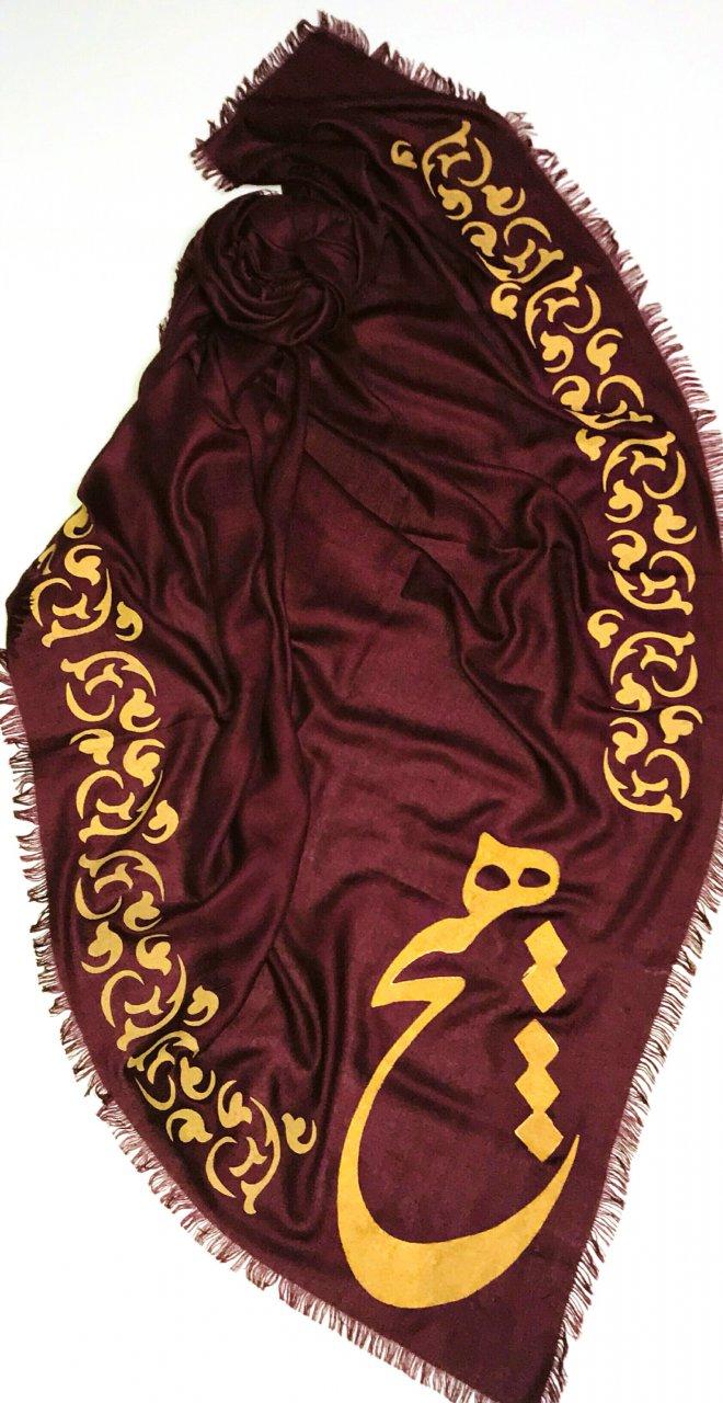 روسری نخی نقاشی شده طرح هیچ و نقوش سنتی