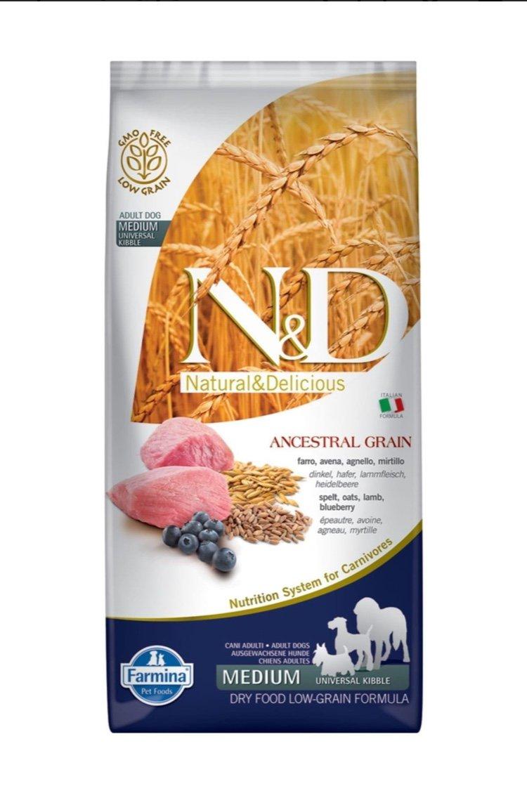 غذای خشک سگ فارمینا N&D حاوی گوشت بره و بلوبری 12 کیلوگرم MEDIUM