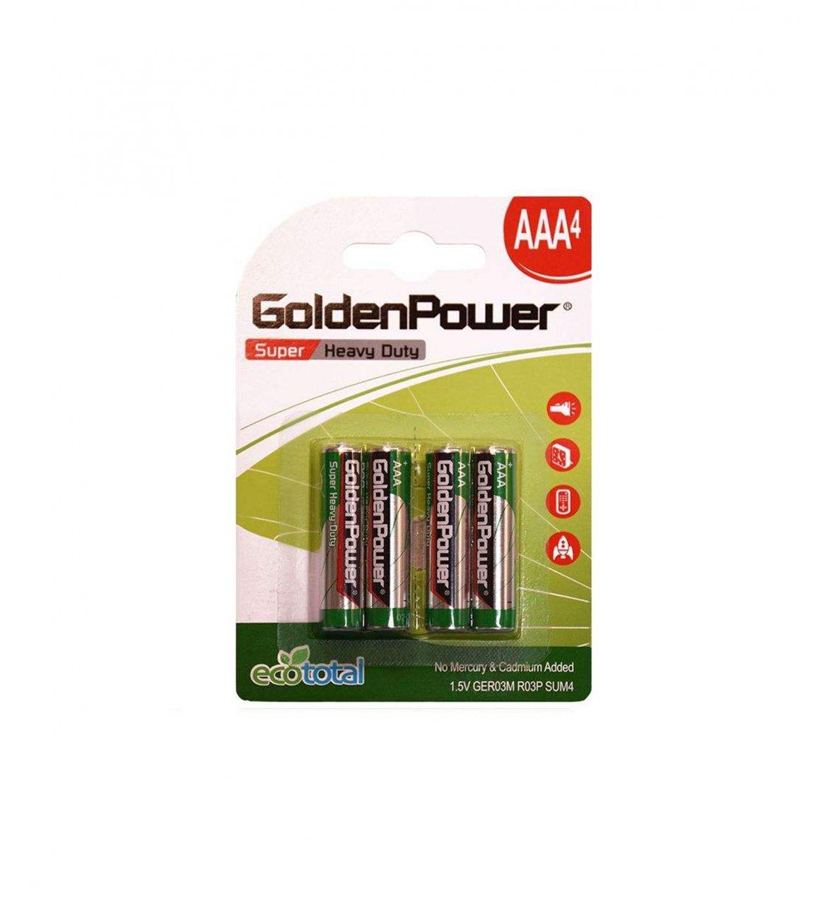 باتری نیم قلمی گلدن پاور مدل Eco Total Super Heavy Duty بسته 4 عددی