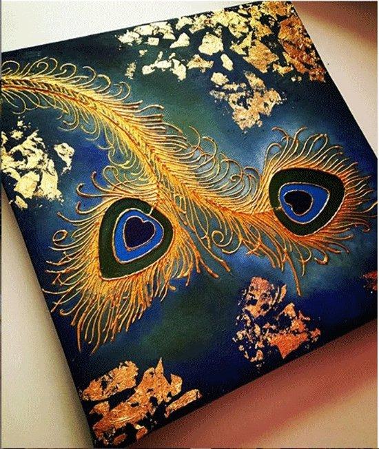 تابلو نقاشی طرح پر طاووس کد V1148