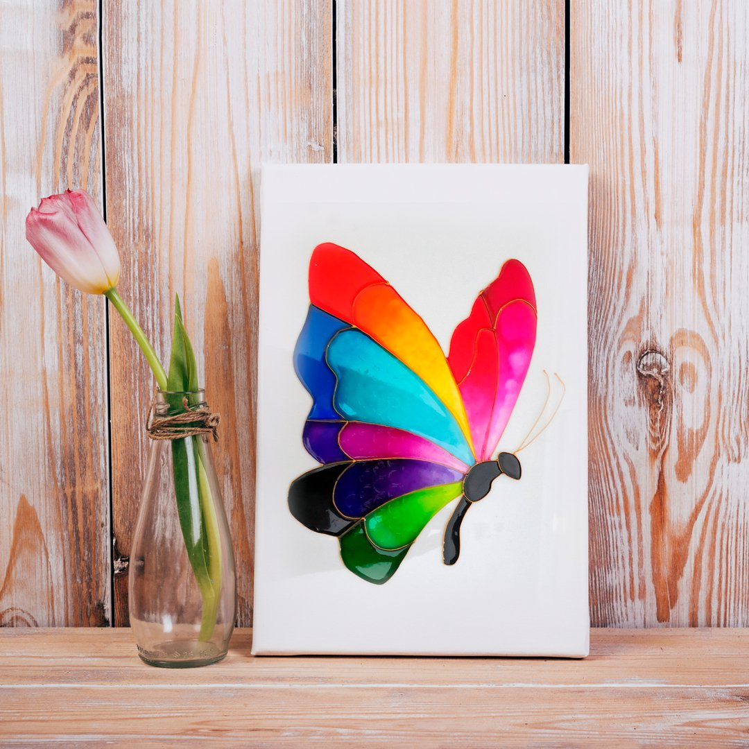 تابلوی نقاشی طرح پروانهی رنگین