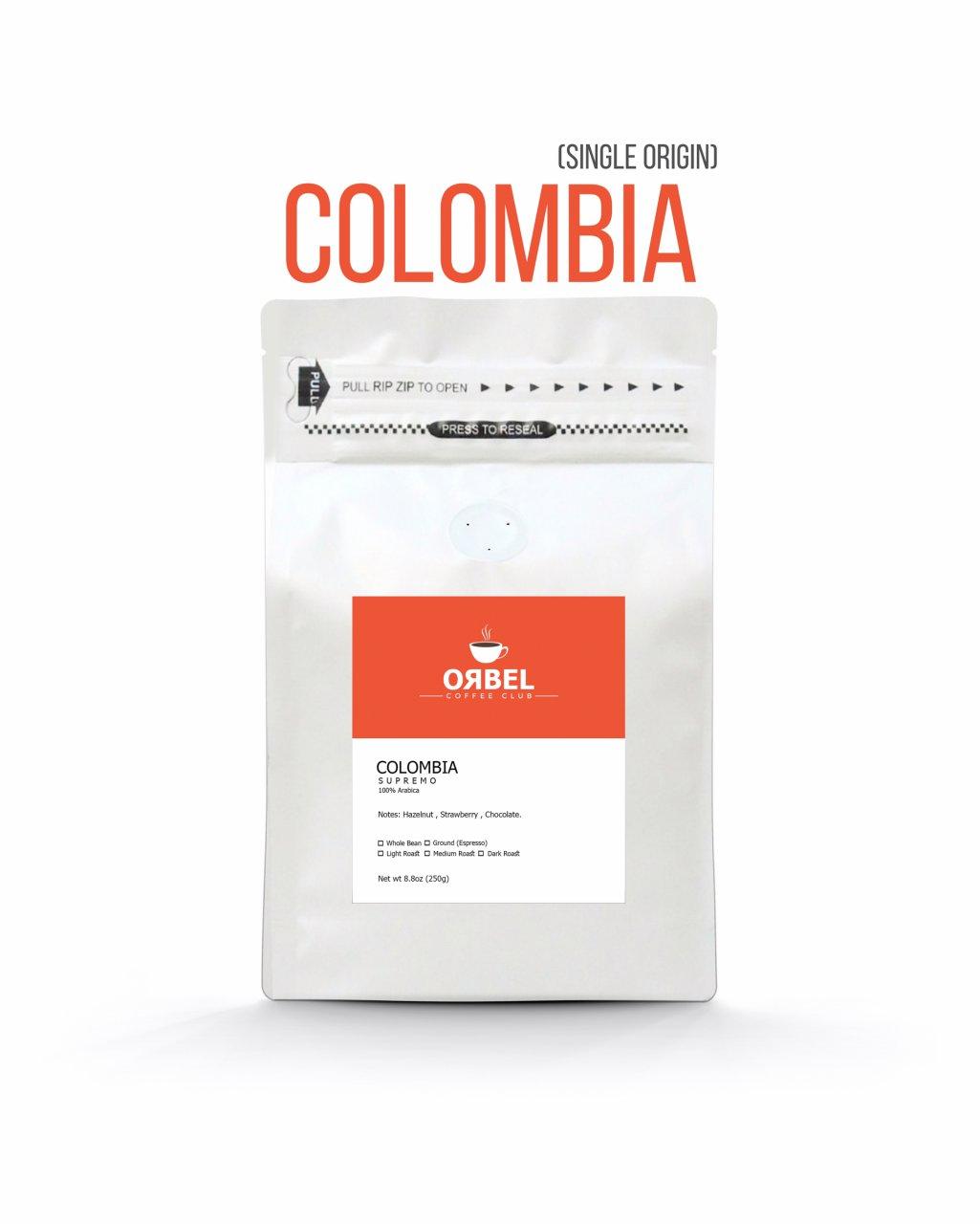 دانه قهوه کلمبیا سوپریمو سینگل اوریجین 1 کیلویی