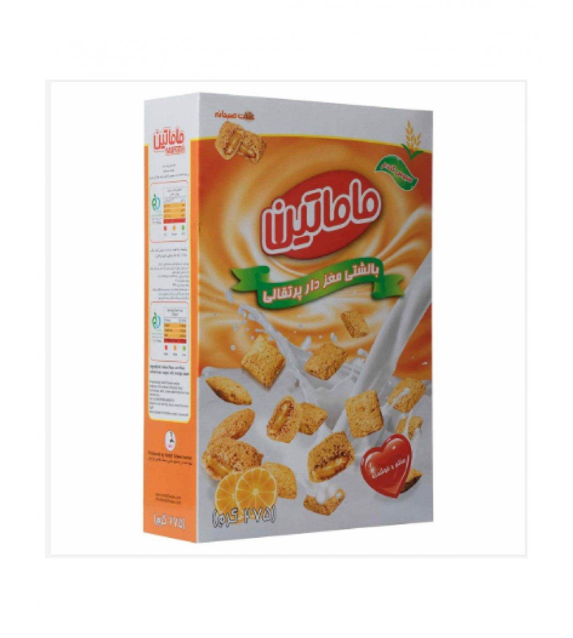 غلات صبحانه بالشتی مغزدار پرتقالی ماماتین 275 گرم