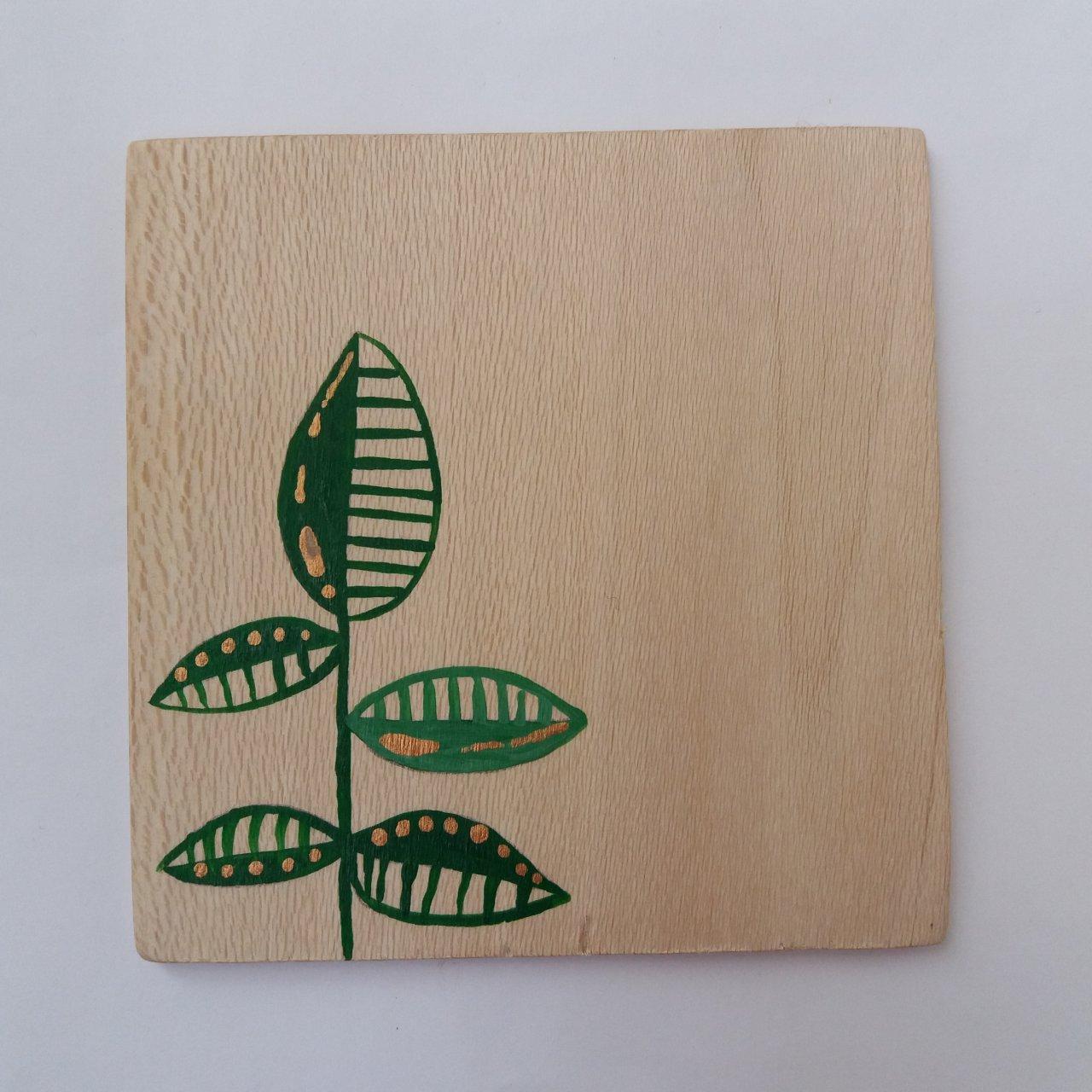 زیرلیوانی چوبی طرح برگ