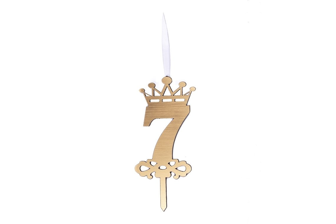 شمع شگفت انگیز عدد 7 تاجدار طلایی