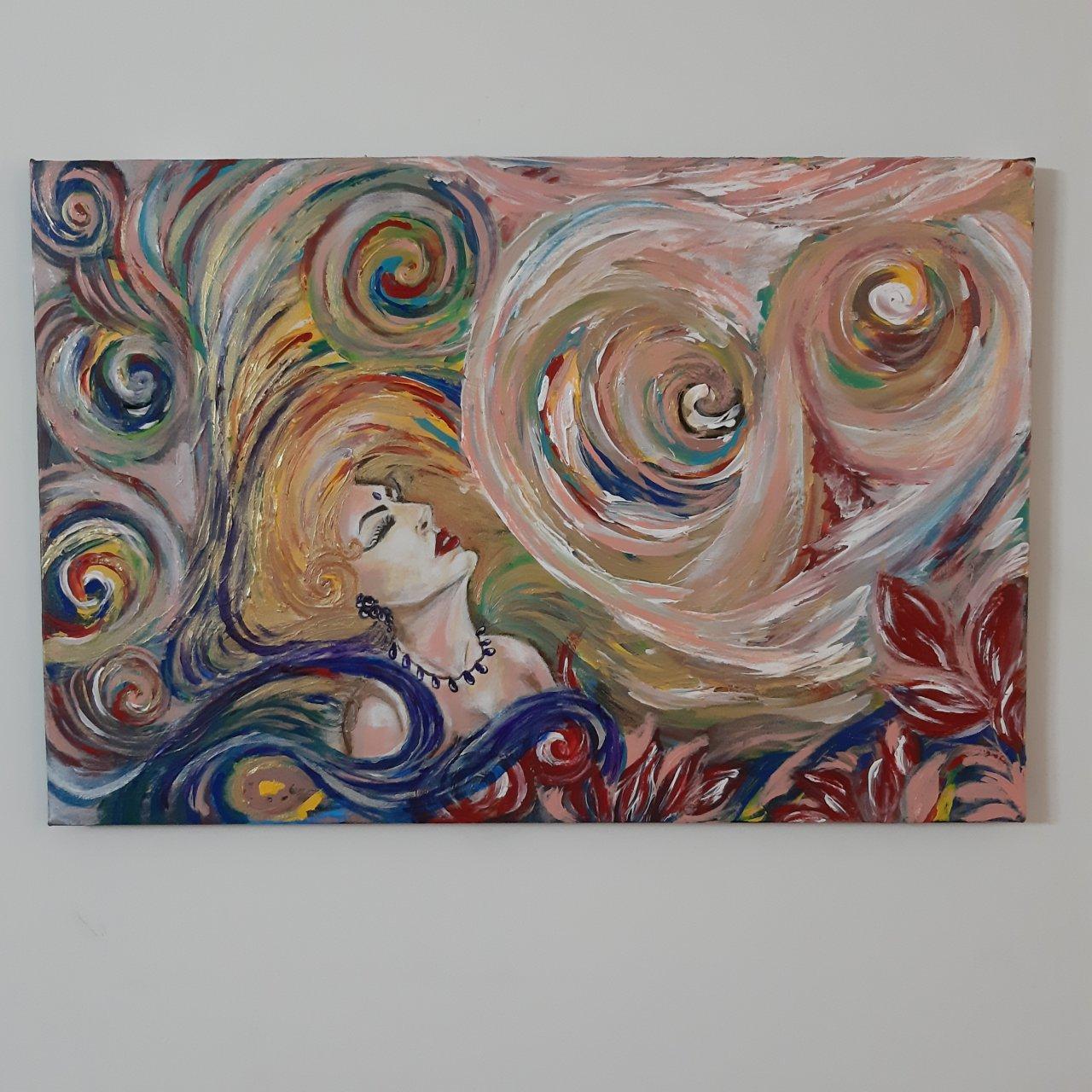 تابلو نقاشی طرح الهه ی رنگها