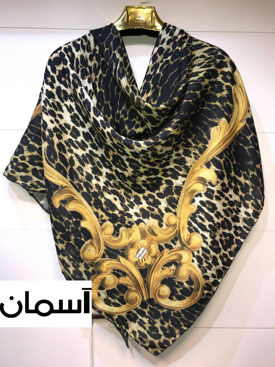 روسری نخی پاییزه طرح پلنگی 140x140