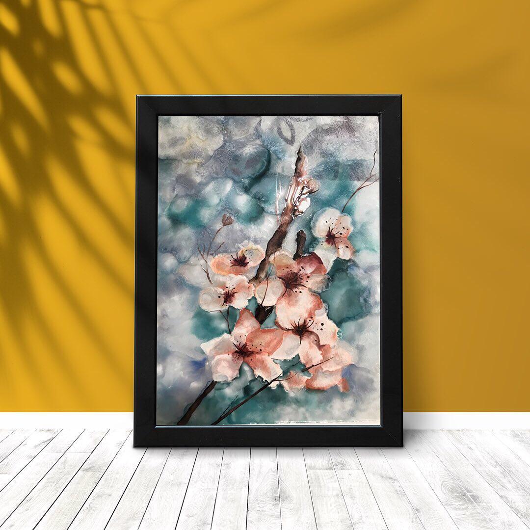 تابلوی نقاشی طرح گل های بهاری