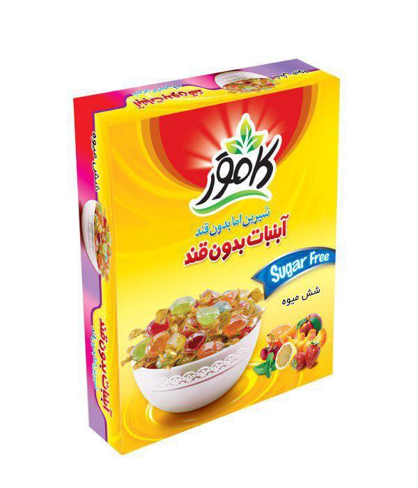 آبنبات رژیمی با طعم شش میوه کامور 110 گرم