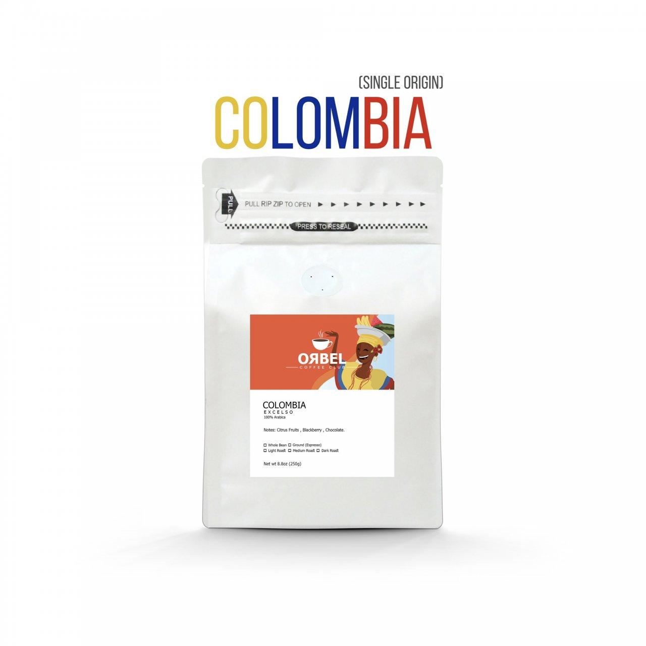 دانه قهوه اربل مدل کلمبیا اکسلسو سینگل اورجین ۲۵۰ گرم