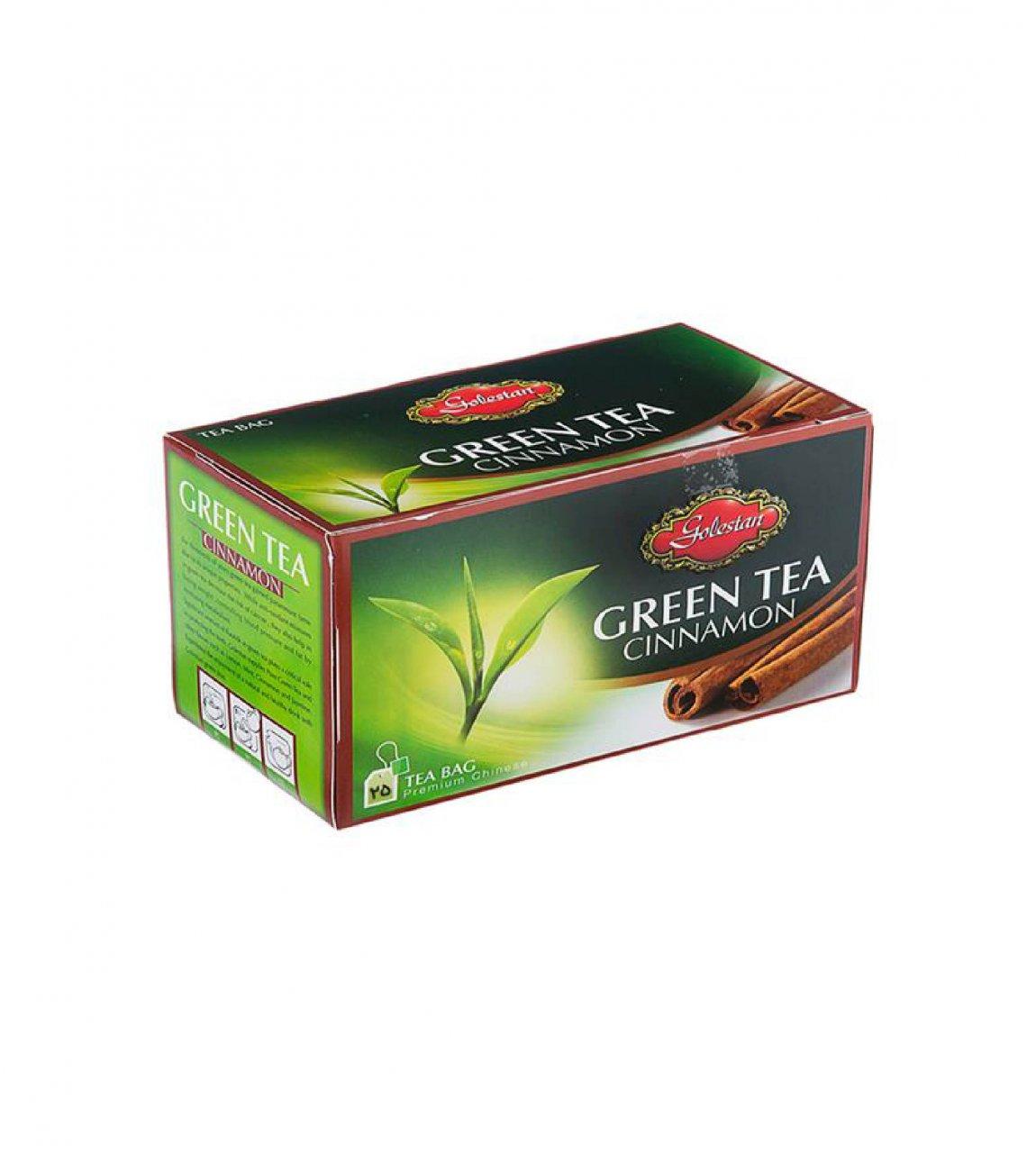 چای سبز با طعم دارچین کیسه ای 25 عددی گلستان